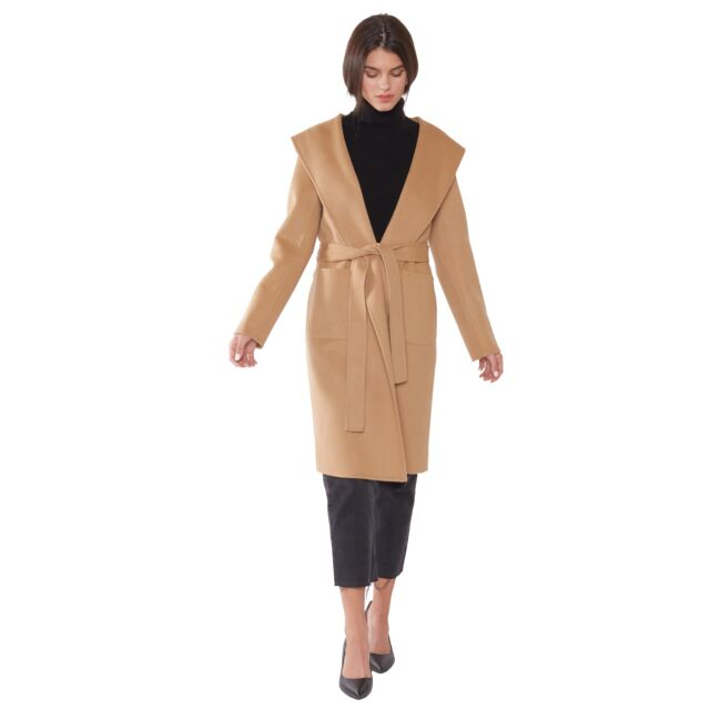JENNIE LIU Women's Cashmere Wool Double Face Hooded Trench Coat with Belt