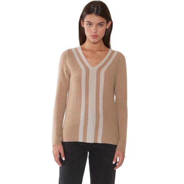 J CASHMERE Women's 100% Cashmere Stripe V Neck Sweater