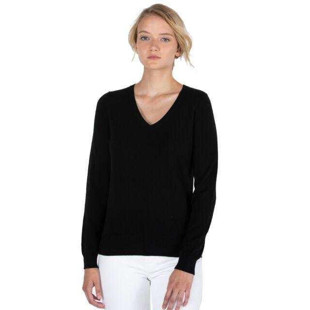 JENNIE LIU Women's 100% Pure Cashmere Long Sleeve Pullover V Neck Sweater(M, Black)