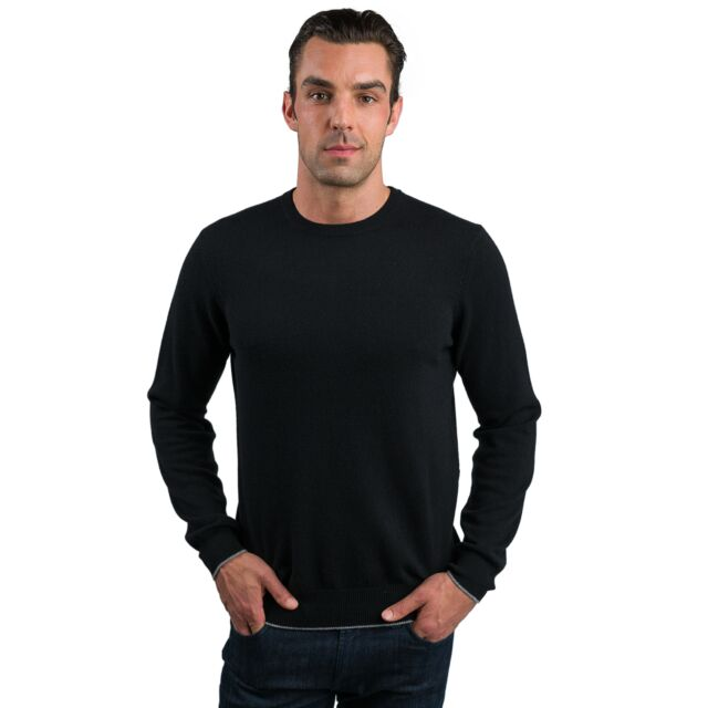 Black Men's 100% Cashmere Long Sleeve Pullover Crewneck Sweater Front View