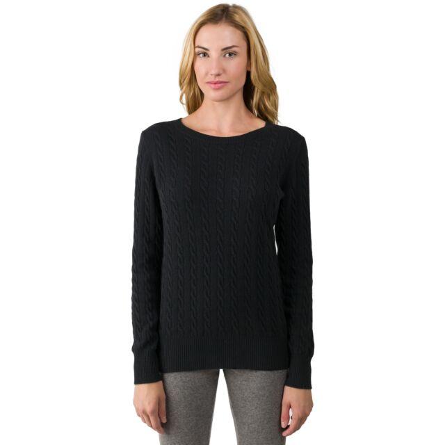 Black Cashmere Cable-knit Crewneck Sweater front view