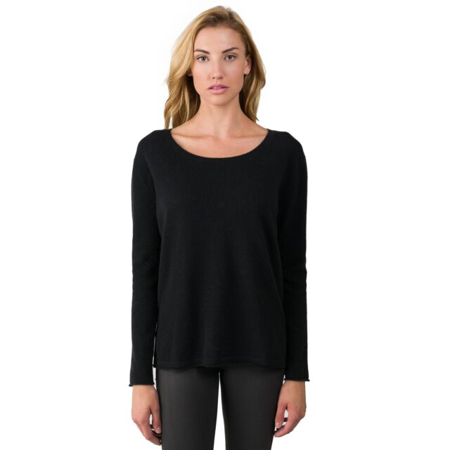 Black Cashmere High Low Sweater front view
