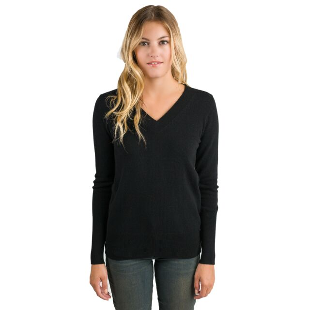 Black Cashmere Long Sleeve Ava V Neck Sweater Front View