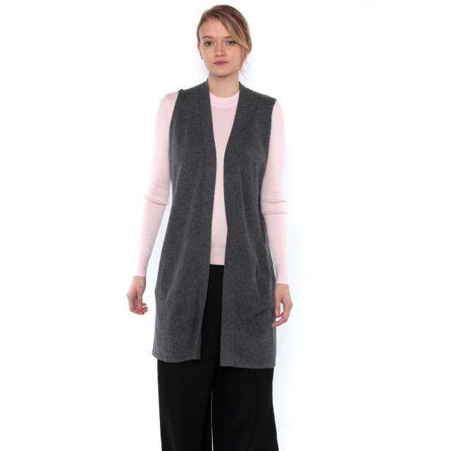 JENNIE LIU Womens 100% Pure Cashmere Sleeveless Cardigan Sweater Duster Vest
