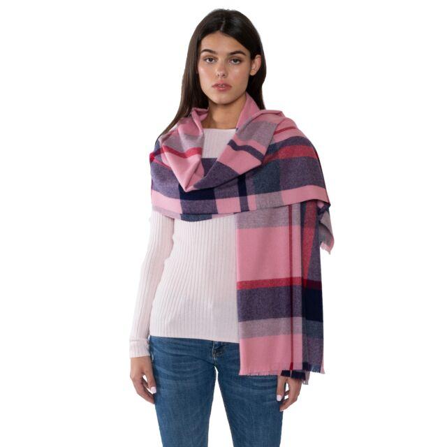 JENNIE LIU Womens 100% Cashmere Shawl Wraps (MP04-G1931-PinkNavyRed