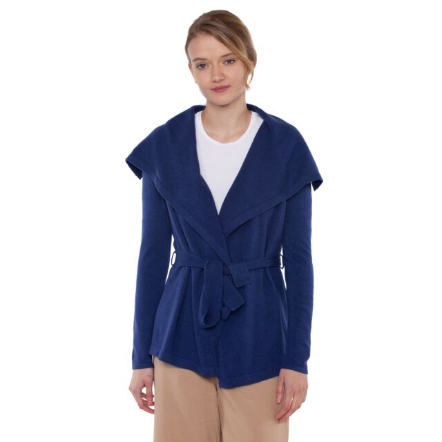JENNIE LIU Women's 100% Pure Cashmere Long Sleeve Belted Cardigan Sweater