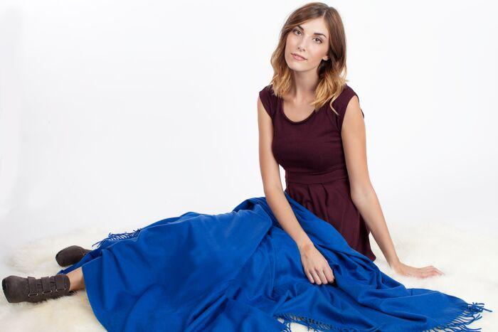 Blue Cashmere Throw Blanket