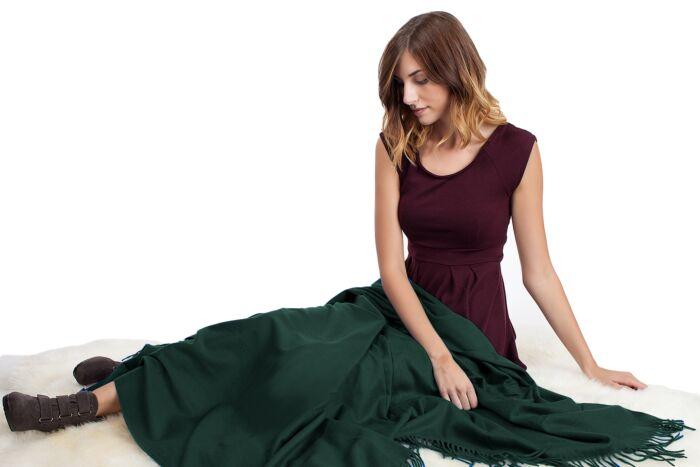 DK Green Cashmere Throw Blanket