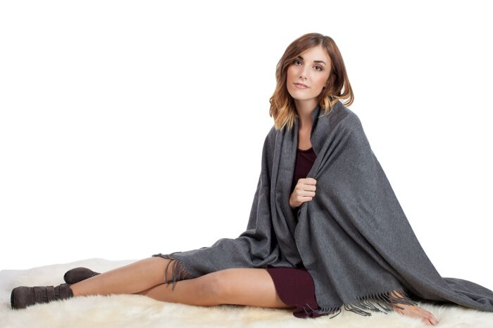 Mid Grey Cashmere Throw Blanket