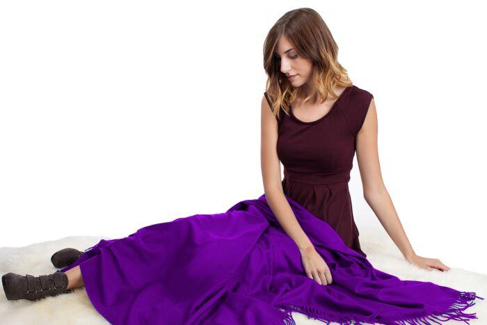 Purple Cashmere Throw Blanket