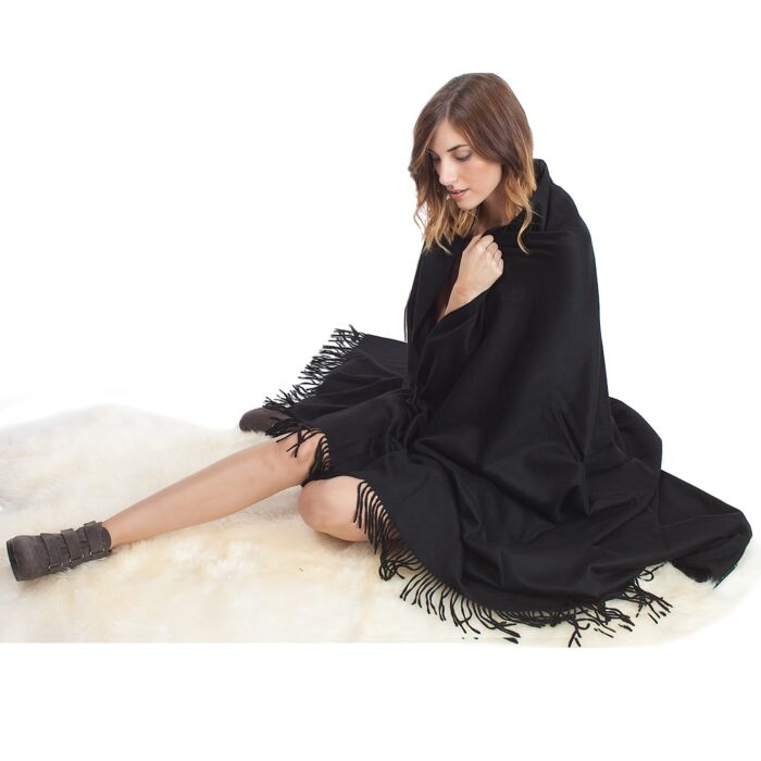 JENNIE LIU 100% Pure Cashmere Throw Blanket-Black