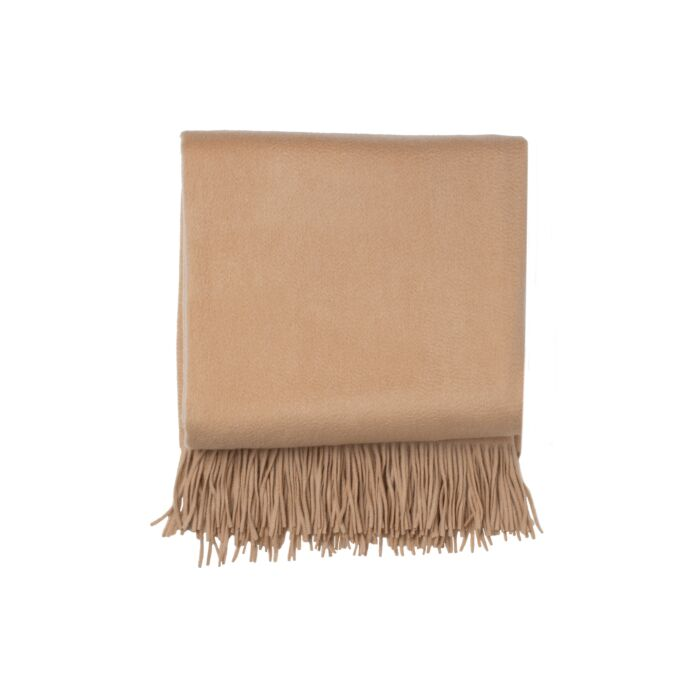 JENNIE LIU 100% Pure Cashmere Throw Blanket-Camel