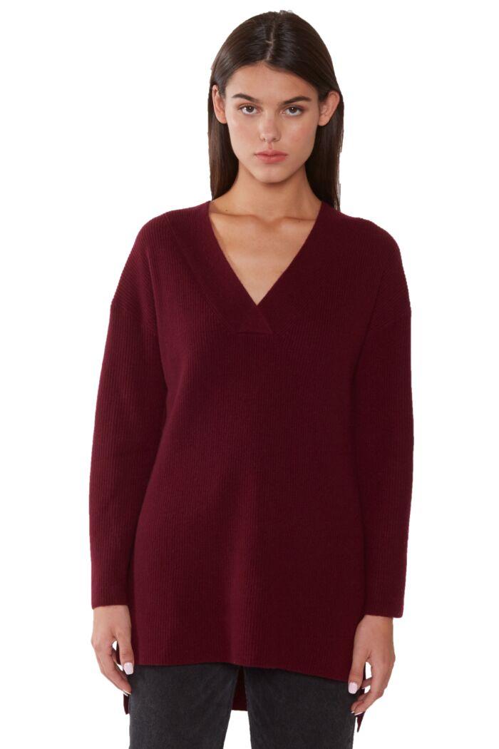 JENNIE LIU Women's 100% Pure Cashmere Long Sleeve Ribbed Tunic Sweater