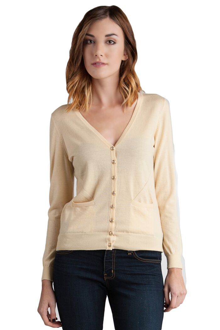 Lemon Tissue Weight Cashmere V-Neck Button Front Cardigan Sweater Front View