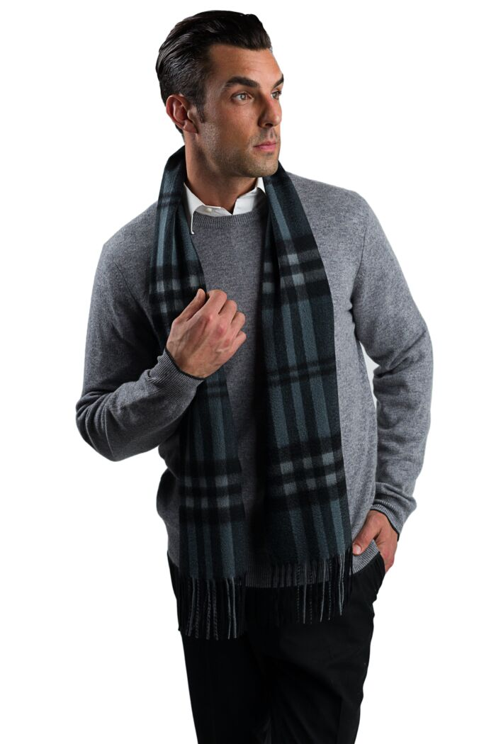 Grey Plaid Men's Cashmere Scarf