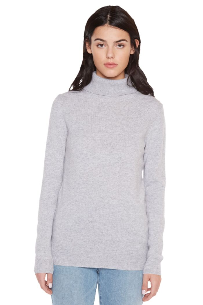 Grey Cashmere Long Sleeve Turtleneck Sweater