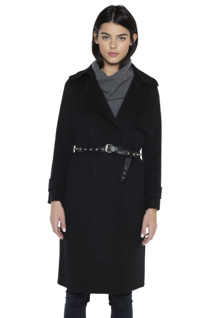 JENNIE LIU Women's Cashmere Wool Double-faced Trench Coat(L