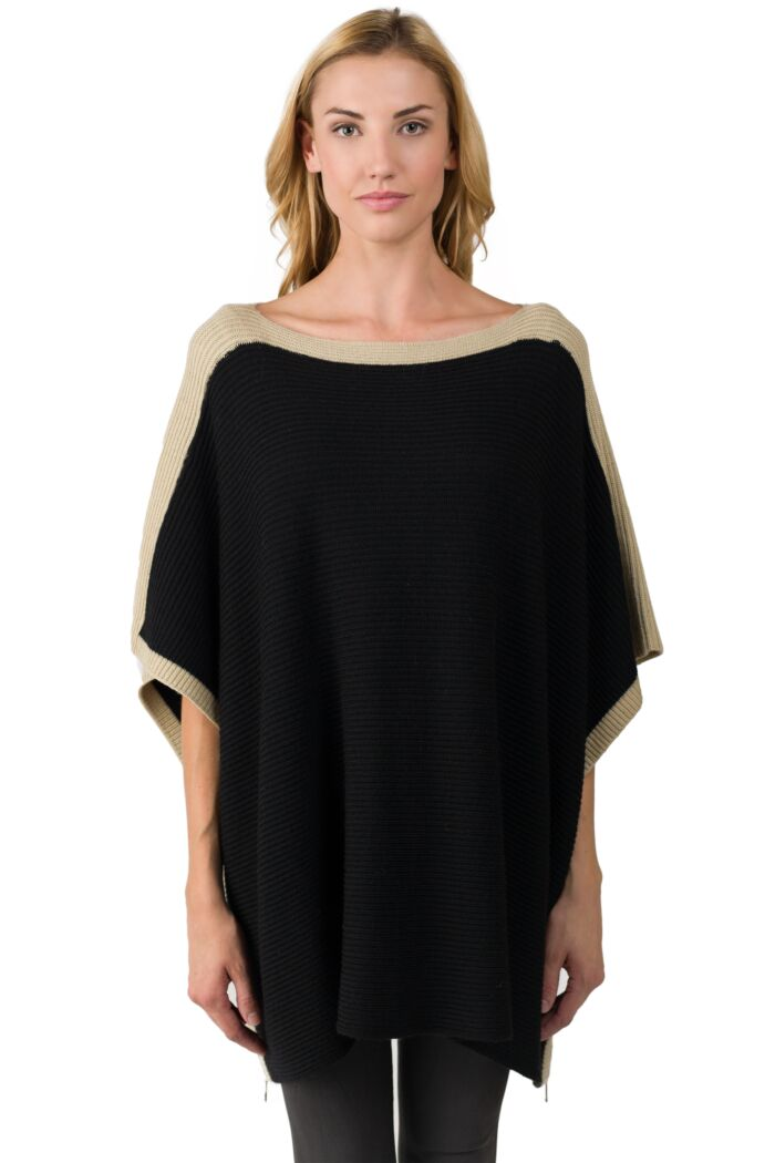 Cashmere Blend Rib Knitted Poncho Sweater Front View