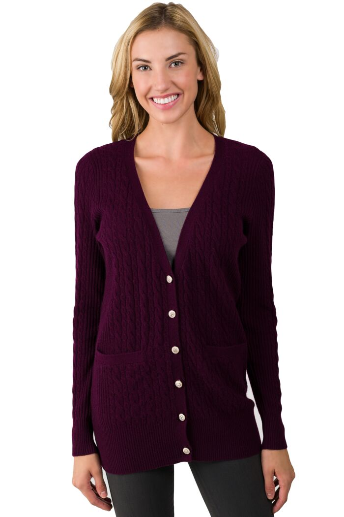 Plum Cashmere Cable-knit V-neck Long cardigan Sweater front view