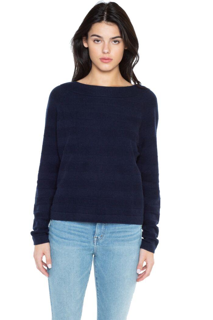 J CASHMERE Women's 100% Pure Cashmere Horizontal Rib Boatneck Raglan Sweater