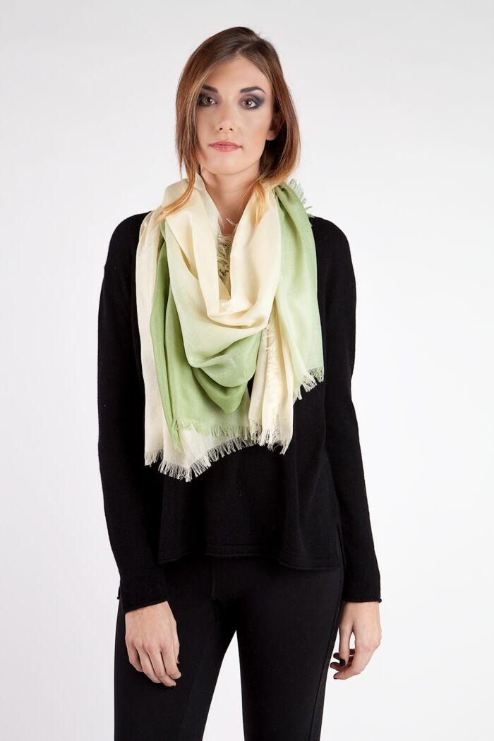 Aloe Ombre Tissue Weight Silk Cashmere Shawl Wrap