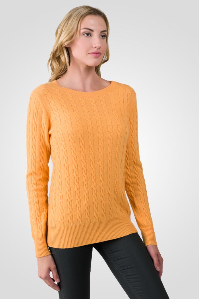 Apricot Cashmere Cable-knit Crewneck Sweater right side view