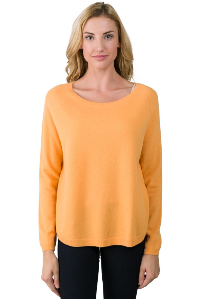 Apricot Cashmere Boatneck Raglan Sweater front view