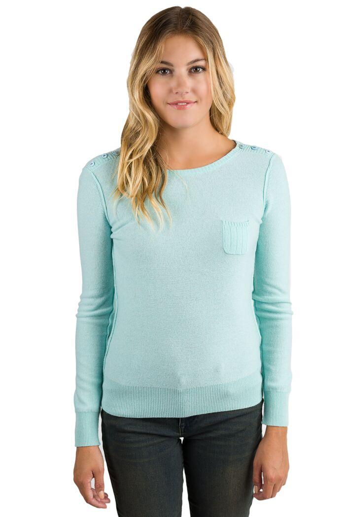 Aqua Chloe Cashmere Crewneck Sweater front view