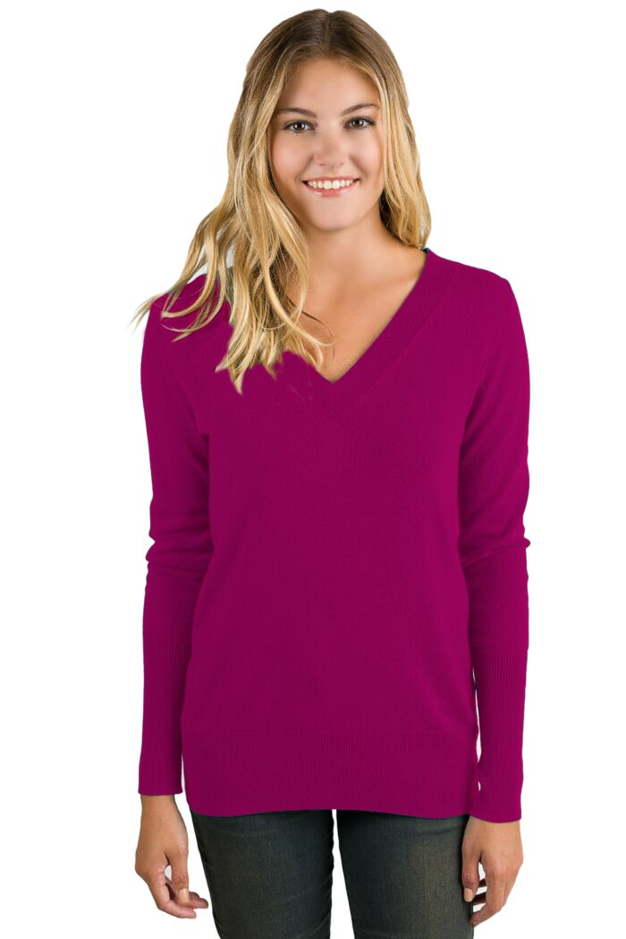 Berry Cashmere Long Sleeve Ava V Neck Sweater Front View