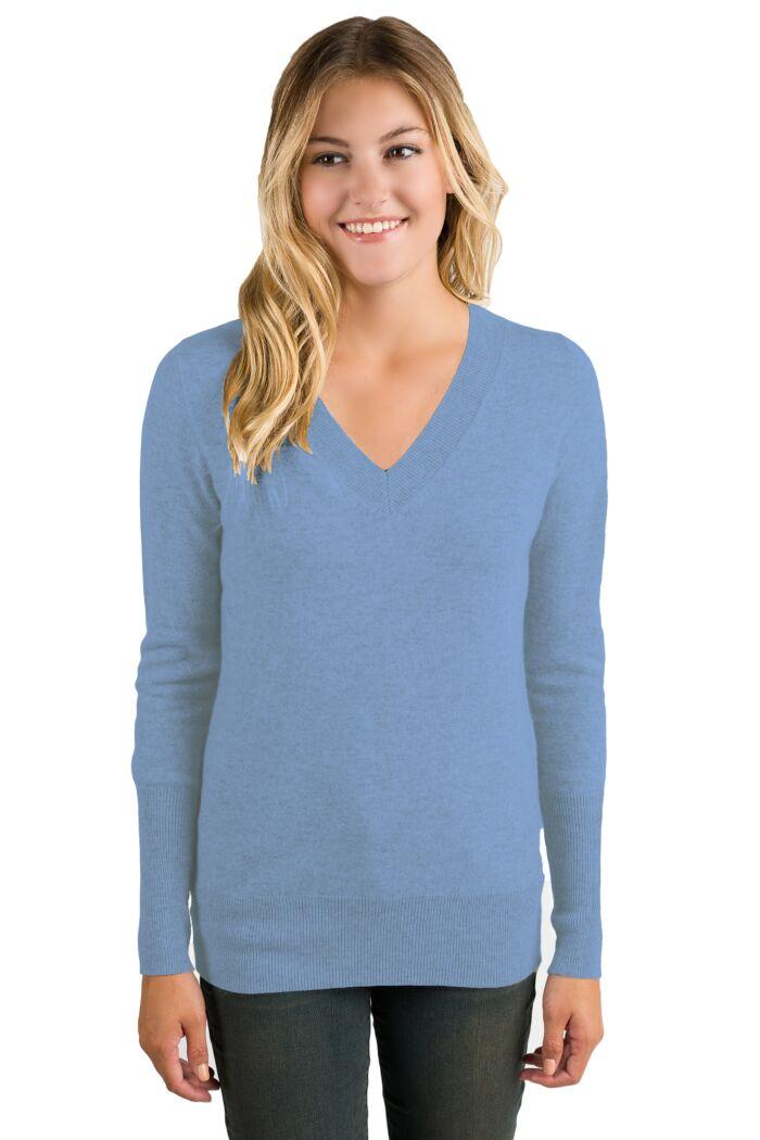 Crystal Blue Cashmere Long Sleeve Ava V Neck Sweater