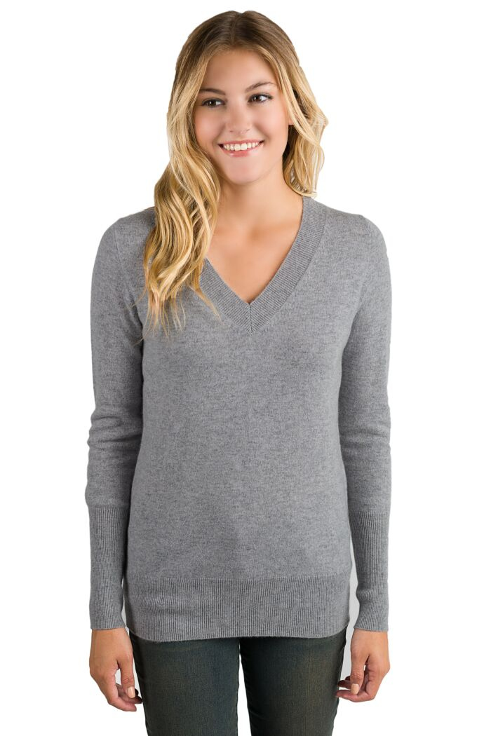 Mid Grey Cashmere Long Sleeve Ava V Neck Sweater Front View