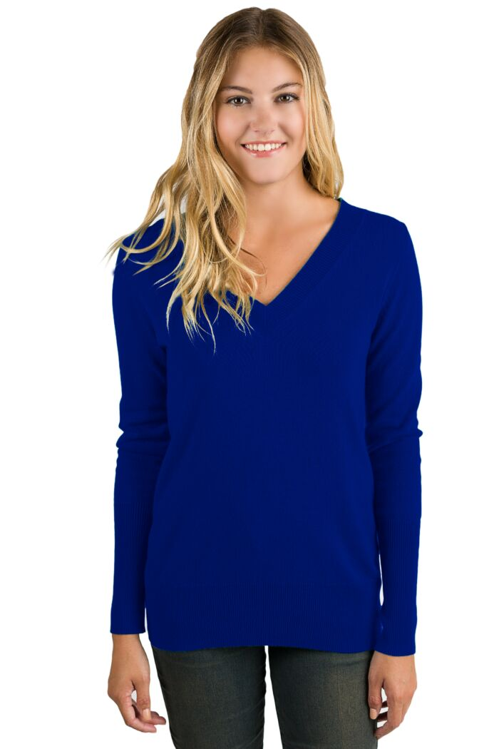 Midnight Cashmere Long Sleeve Ava V Neck Sweater Front View