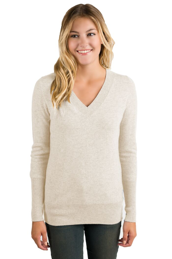 Oatmeal Cashmere Long Sleeve Ava V Neck Sweater Front View