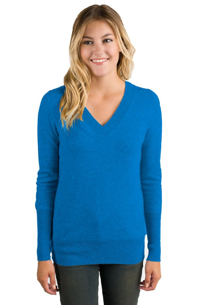 OceanBlue Cashmere Long Sleeve Ava V Neck Sweater Front View