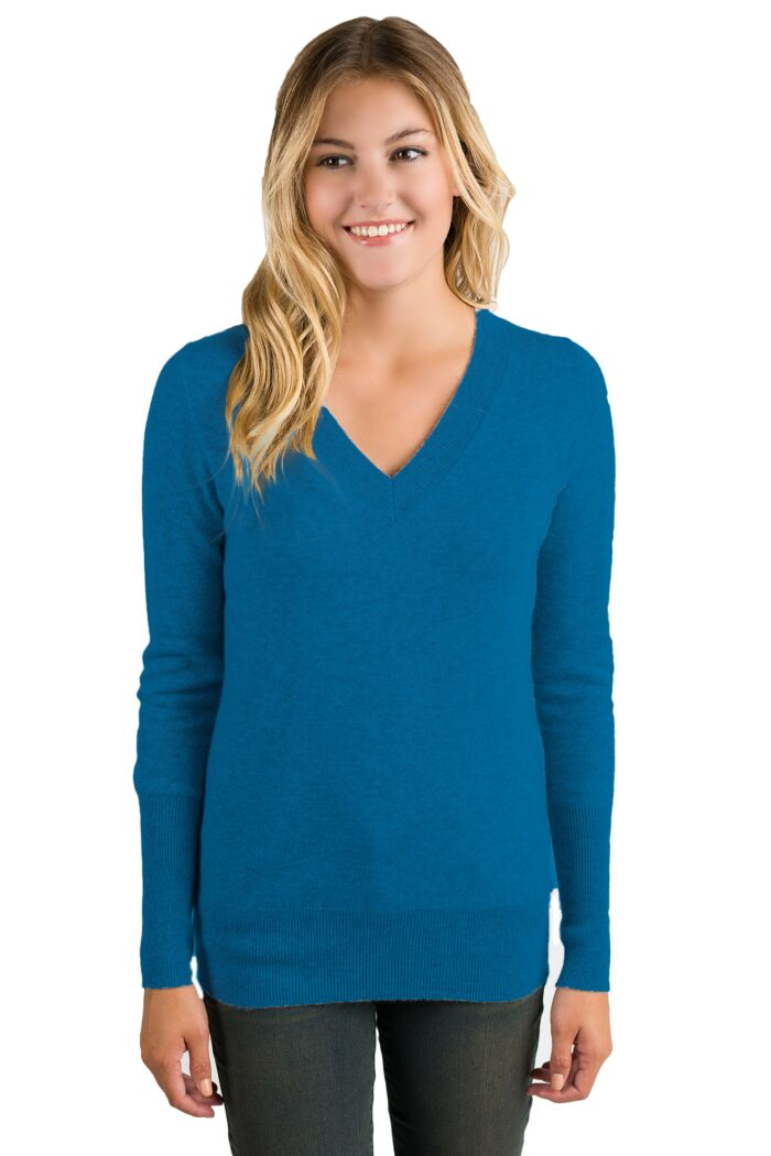 Peacock Cashmere Long Sleeve Ava V Neck Sweater Front View