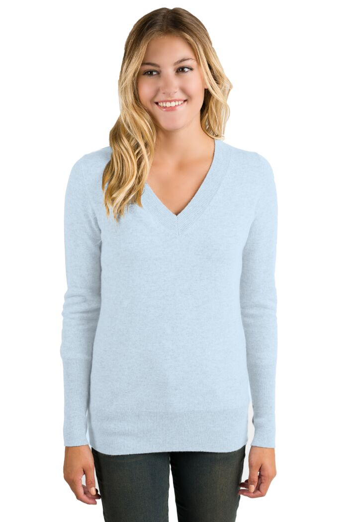 Sky Cashmere Long Sleeve Ava V Neck Sweater Front View