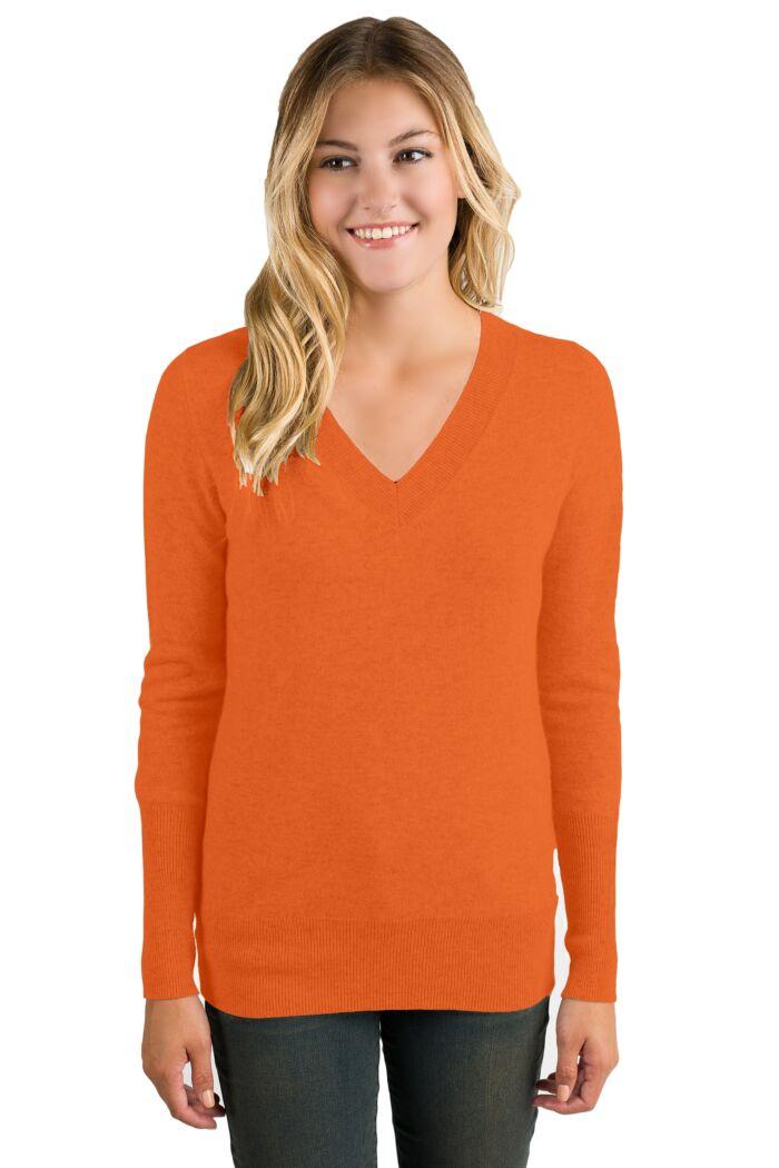 Tangerine Cashmere Long Sleeve Ava V Neck Sweater