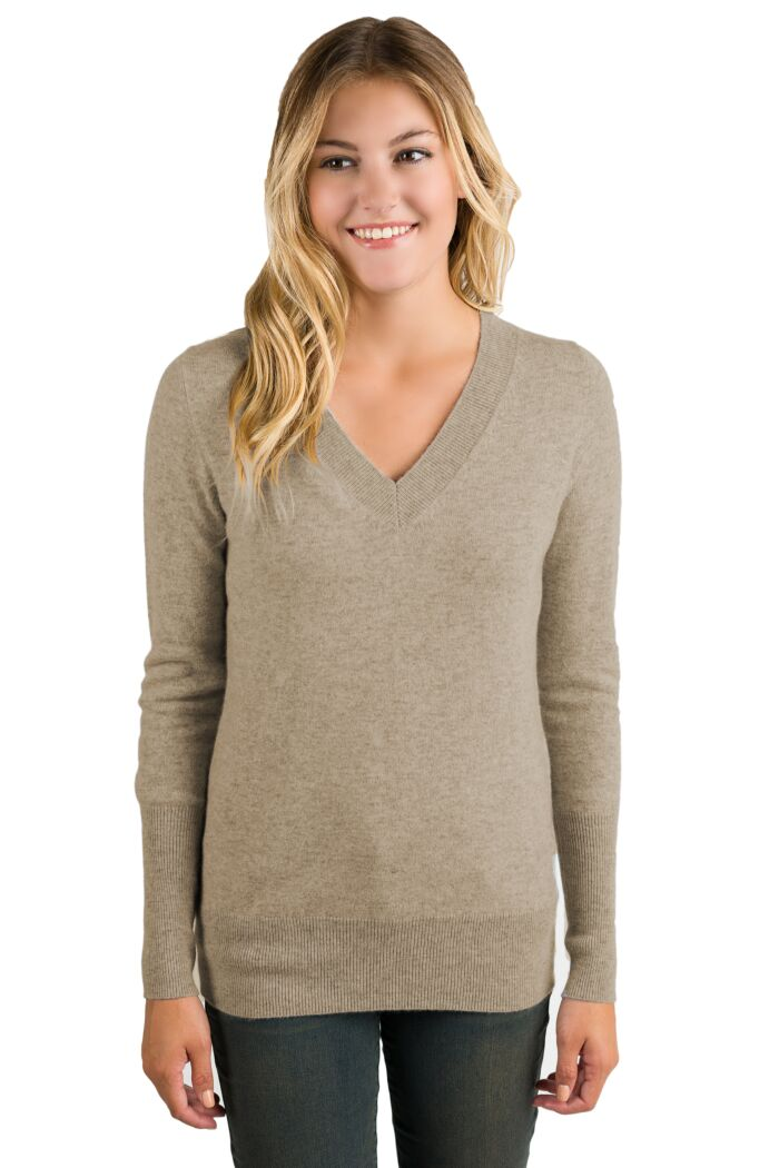 Toffee Cashmere Long Sleeve Ava V Neck Sweater Front View