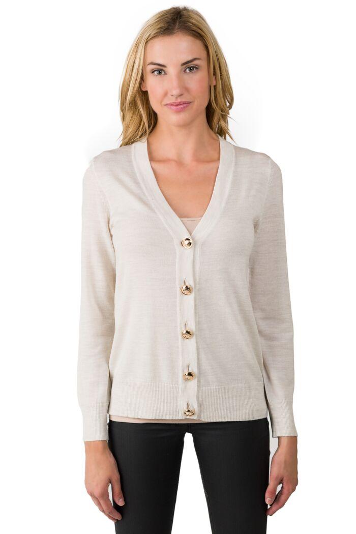 Beige Merino Wool Long Sleeve V Neck Cardigan Sweater Front View