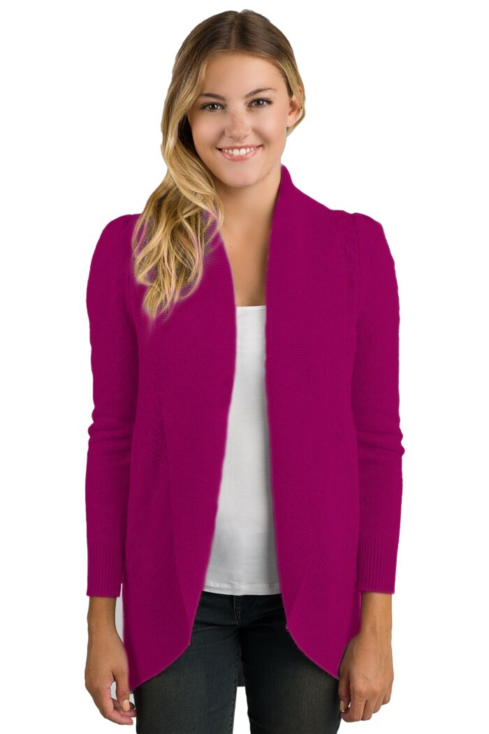Berry Cashmere Celine Cardigan Sweater front view