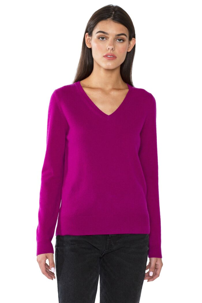 JENNIE LIU Women's 100% Pure Cashmere Long Sleeve Pullover V Neck Sweater(M, Berry)