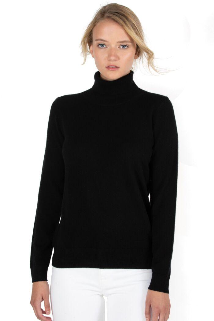Black Cashmere Long Sleeve Turtleneck Sweater