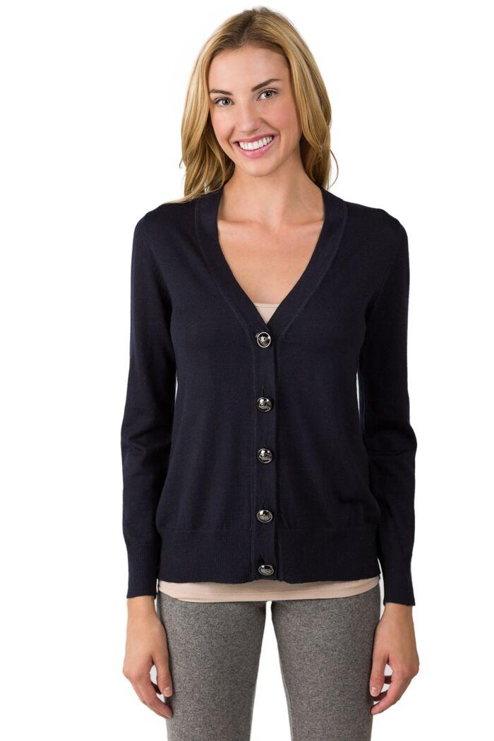 Black Merino Wool Long Sleeve V Neck Cardigan Sweater Front View