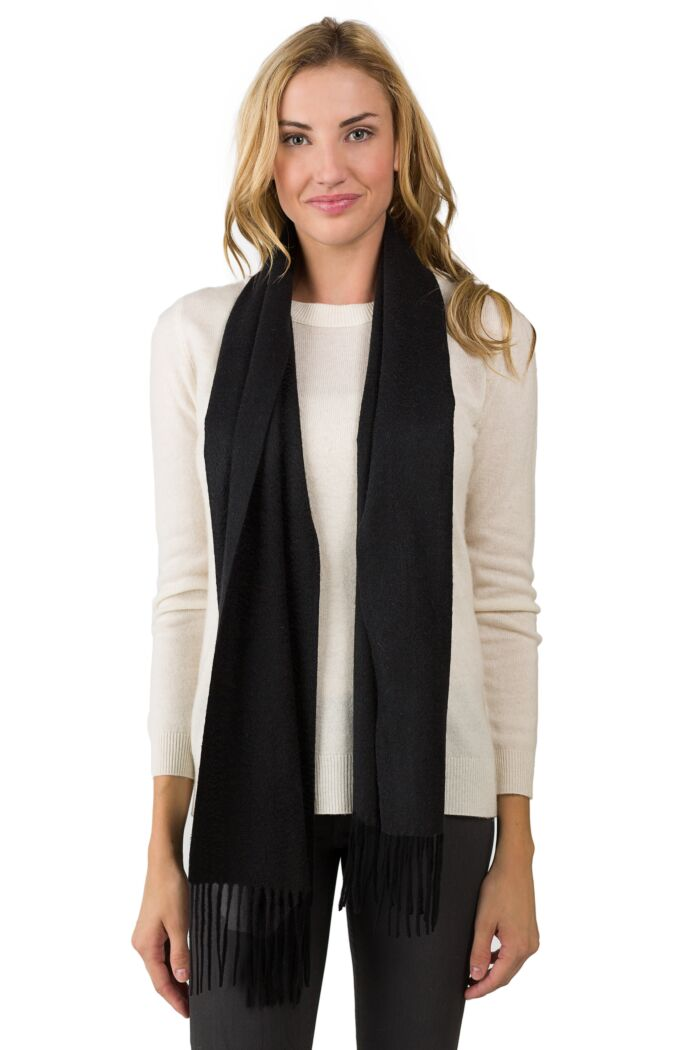 Black Cashmere Scarf front view