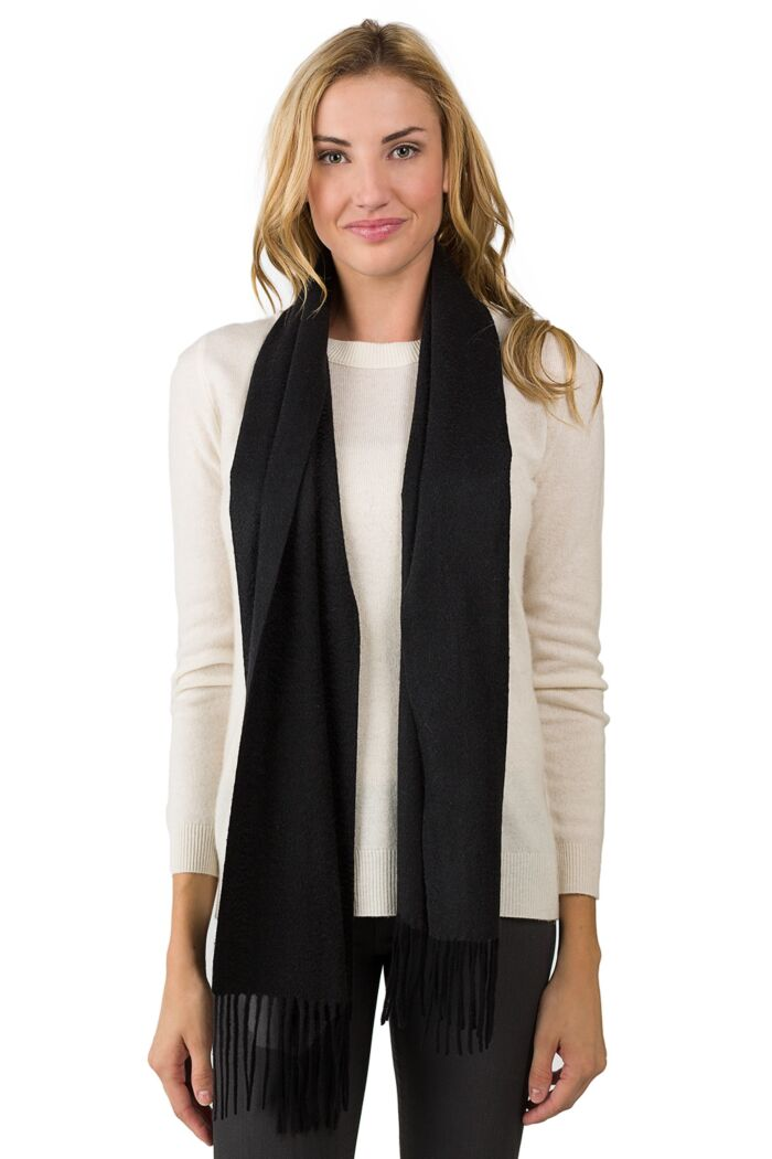 Black Watermark Cashmere Blend Woven Scarf front view
