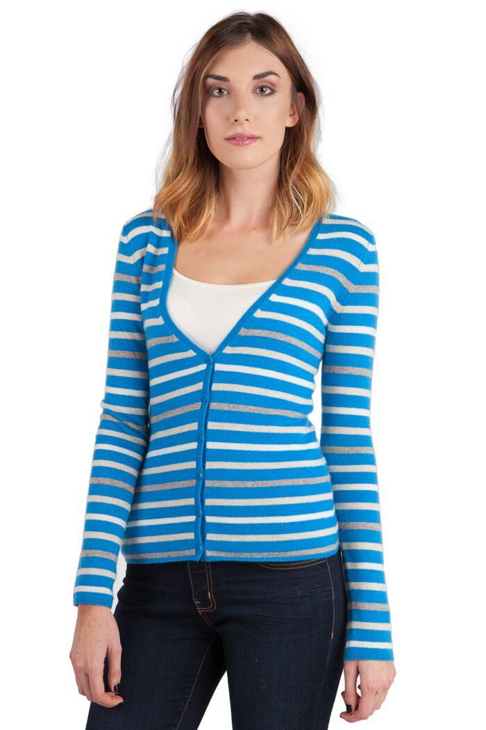 Blue Stripe Cashmere Long Sleeve V Neck Cardigan Front View