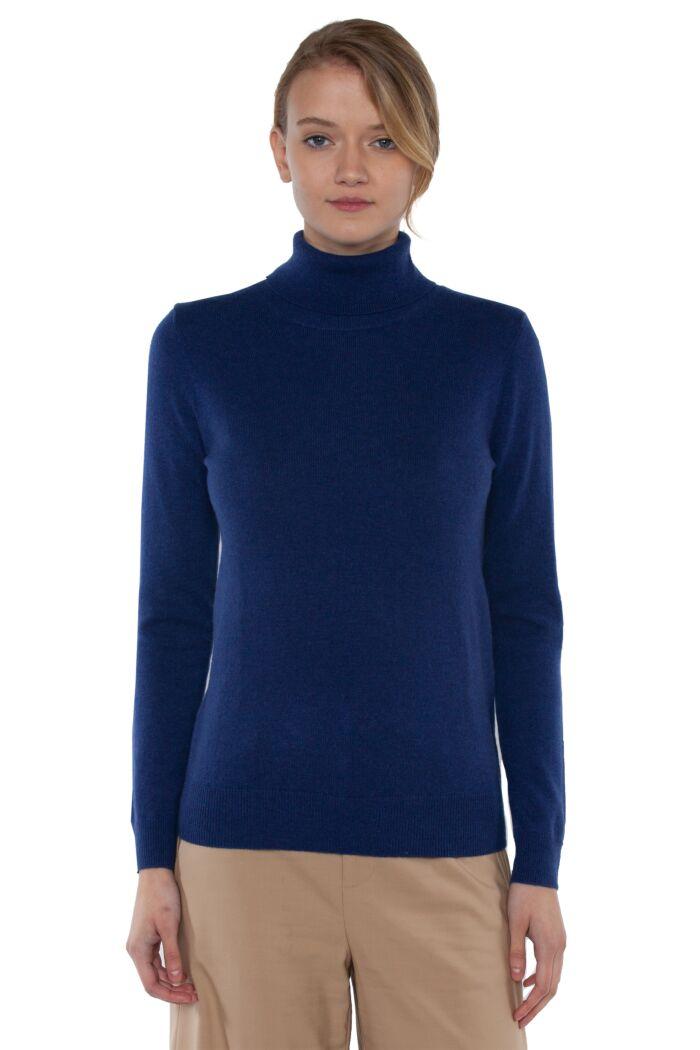 Blue Cashmere Long Sleeve Turtleneck Sweater