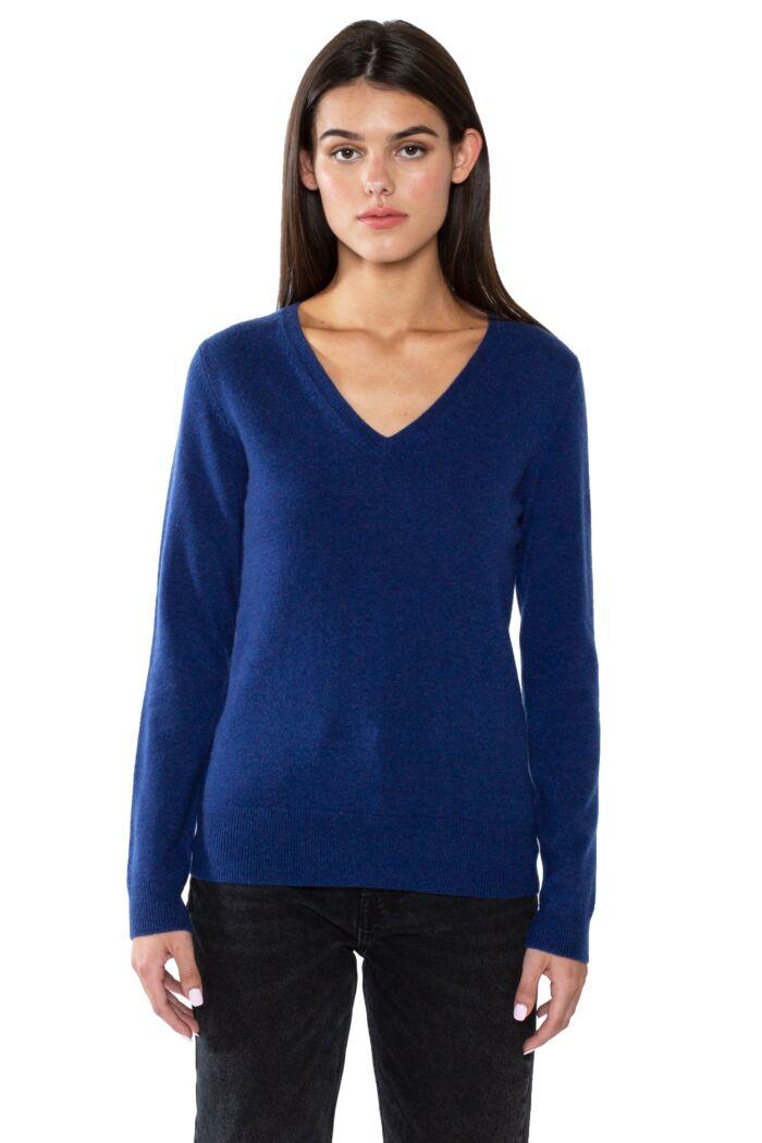 JENNIE LIU Women's 100% Pure Cashmere Long Sleeve Pullover V Neck Sweater(M, Blue)