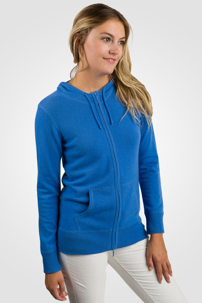 Blue Cashmere Long Sleeve Zip Hoodie Cardigan Sweater Right View