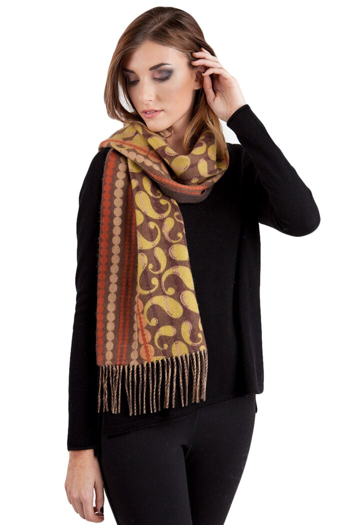 Brown Paisley Printed Woven Cashmere Scarf